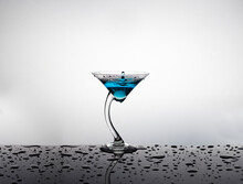 Curved Stem Martini Glass With...