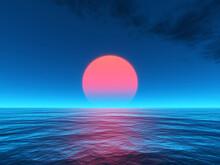 Sunset Red Sun Calm Blue Sea W...