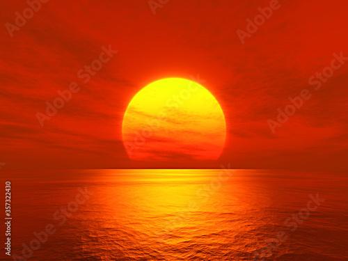 light sunset orange sun calm orange sea with sun through nature horizon over the water with a cloudy sky.