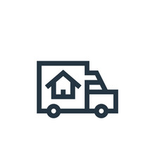 Moving Truck Vector Icon. Moving Truck Editable Stroke. Moving Truck Linear Symbol For Use On Web And Mobile Apps, Logo, Print Media. Thin Line Illustration. Vector Isolated Outline Drawing.