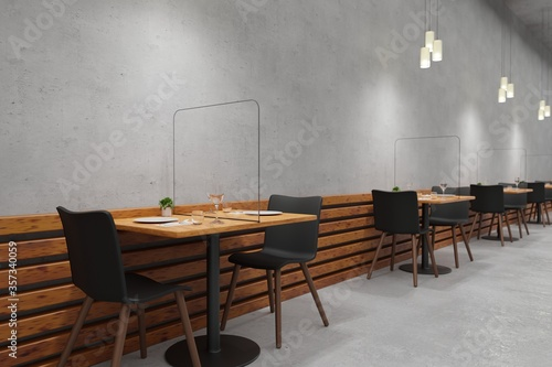 Fototapeta Social distancing restaurant with Glass protect from COVID-19 viruses 3d rendering obraz