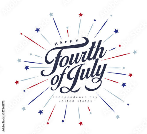 Independence day USA banner template .4th of July celebration poster template.fourth of july vector illustration . - 357346870