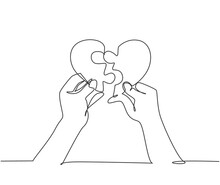 Single Continuous Line Drawing Of Cute Young Happy Man Put The Puzzle Pieces Together To Heart Shape Form. Romantic Love Marriage Concept. Modern One Line Draw Graphic Design Vector Illustration