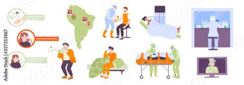 Fototapeta Coronavirus Flat Icons Set  obraz na płótnie