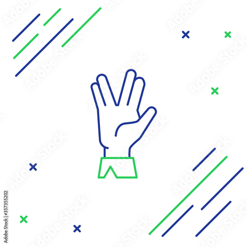Fototapeta Line Vulcan salute icon isolated on white background