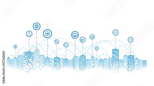 Network and communication in a digital city Fototapeta