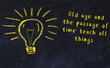 canvas print picture - Concept of generating ideas. Chalk drawing of light bulb. Copy space