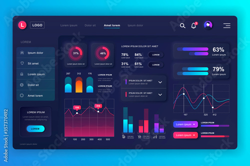 Fototapeta Neumorphic dashboard UI kit. Admin panel vector design template with infographic elements, HUD diagram, info graphics. Website dashboard for UI and UX design web page. Neumorphism style. obraz