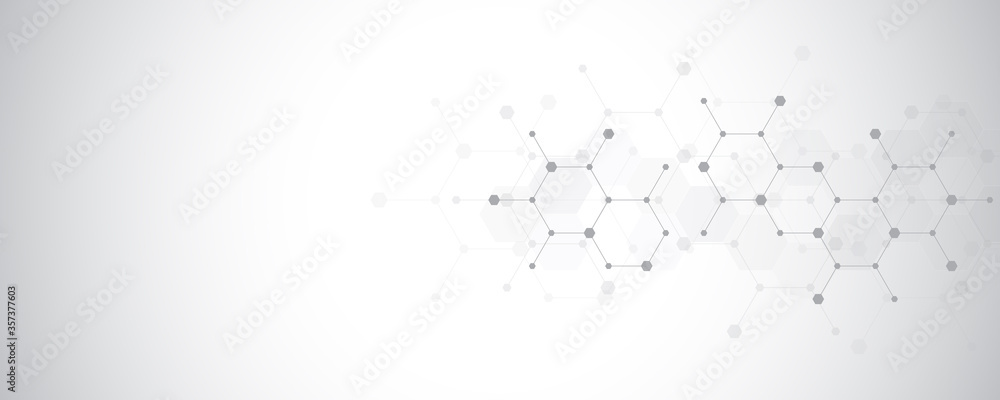 Fototapeta Abstract molecules background. Molecular structures or chemical engineering, genetic research, innovation technology. Scientific, technical or medical concept.