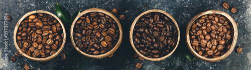 Fototapeta Four different varieties of coffee beans obraz