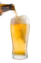 Pouring Blonde Beer Into Glass...