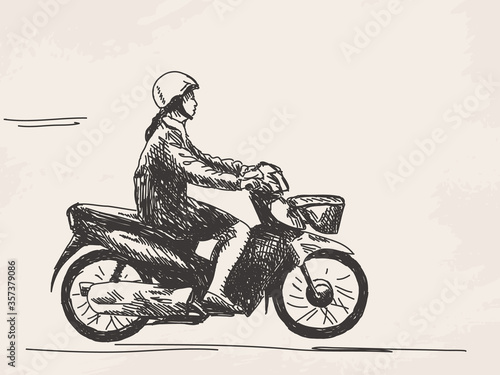 Fototapeta Sketch of woman riding motorcycle Hand drawn vector illustration obraz