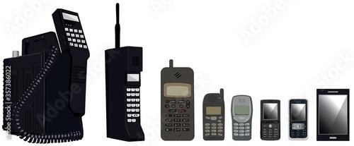 Fotomural Cell phone evolution on white background