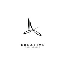 Letter A, Signature Minimalist Luxurious Vector Logo Black Color With White Background