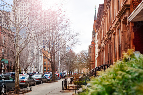 State street in Albany near Emmanuel Baptist Church, NY, USA Fototapet