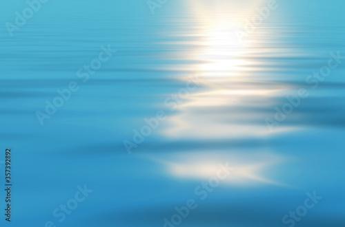 Obraz na plátně Sunny nature background, sun reflected in ocean, render illustration