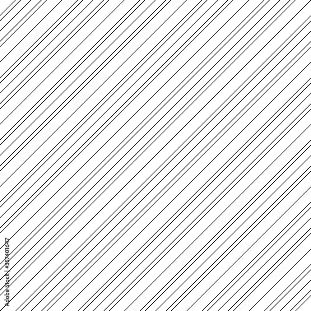 Fototapeta Diagonal thin black lines abstract on white background. Seamless surface pattern design with linear ornament. Angled straight stripes motif. Slanted pinstripe. Striped digital paper for print. Vector.