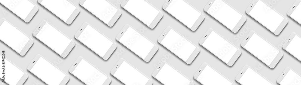 Fototapeta Many mobile phones on grey background