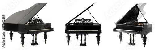 Foto Black grand pianos on white background