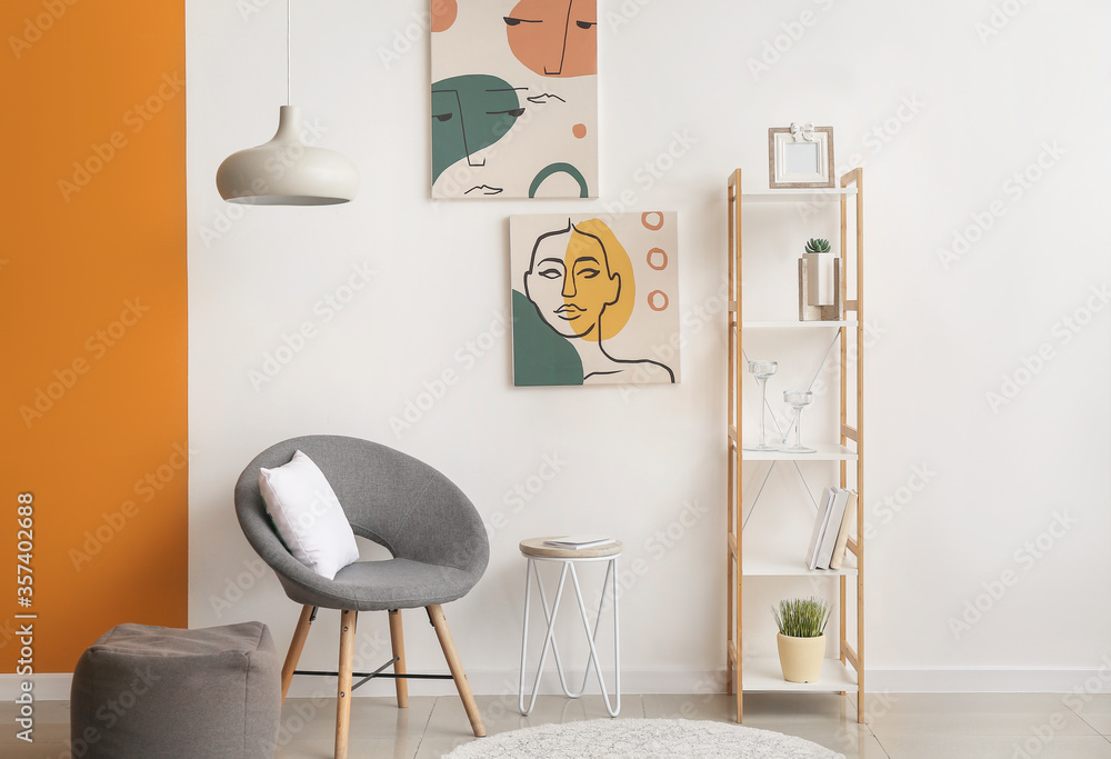 Fototapeta Interior of modern room with shelf unit
