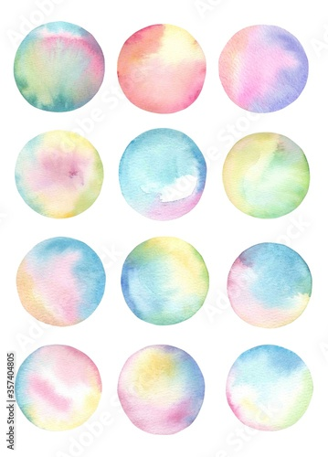 Fotografering Watercolor rainbow splashes collection