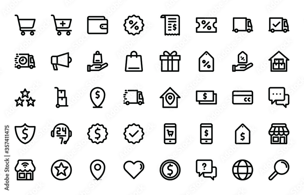 Fototapeta e-commerce basic outline icons set