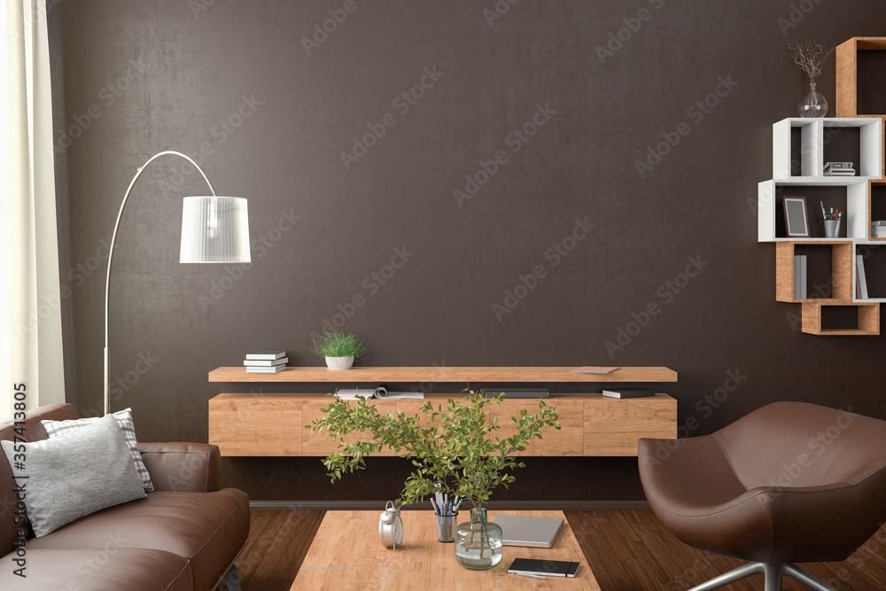 Fototapeta Blank brown wall mock up in the living room. 3d rendering