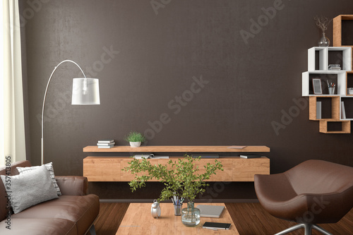 Obraz Blank brown wall mock up in the living room. 3d rendering - fototapety do salonu