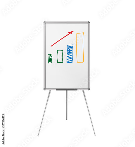 Flipchart whiteboard easel with hand-drawn growth chart isolated on white backgr Fototapet