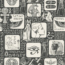 Ancient Egypt Seamless Pattern With The Hieroglyphs Are Randomly Selected And Do Not Make Sense. Vector Black And White Background With Sketches, Suitable For Wallpaper, Wrapping Paper, Fabric