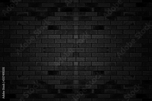 Fototapeta Black texture with brick wall for banner website or background. obraz