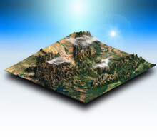 3D Isometric Terrain Of A Mountainous Landscape