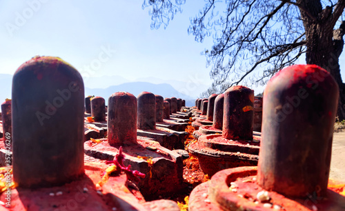 Shiva Lingas, A lingam, sometimes referred to as linga or Shiva linga, is an abstract or aniconic representation of the Hindu deity Shiva in Shaivism Fototapet