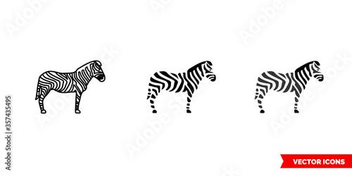 Leinwand Poster Zebra symbol icon of 3 types. Isolated vector sign symbol.