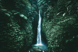 Amazing waterfall near Ubud in Bali, Indonesia.  Secret Bali jungle Waterfall - 357438229