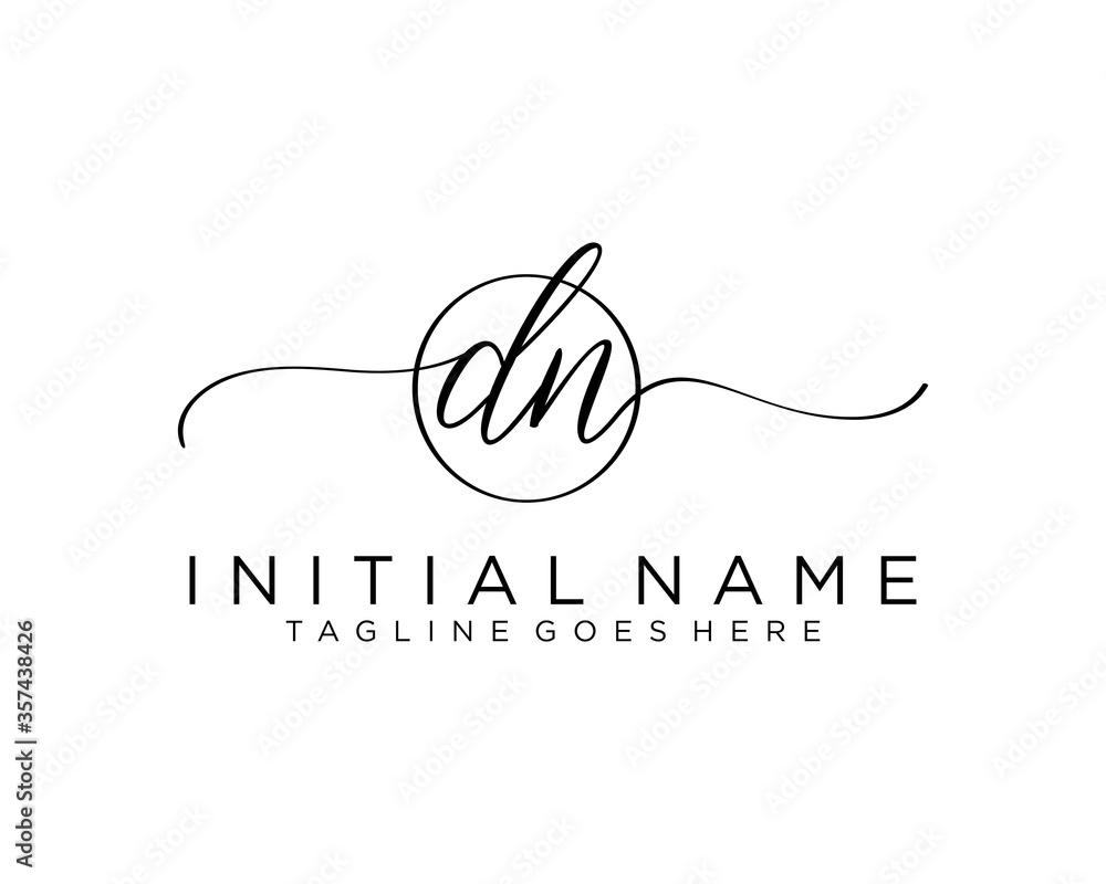Fototapeta Initial D N handwriting logo vector. Hand lettering for designs