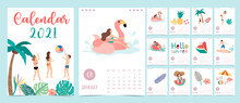 Cute Summer Calendar 2021 With People,beach,watermelon,coconut Tree For Children, Kid, Baby