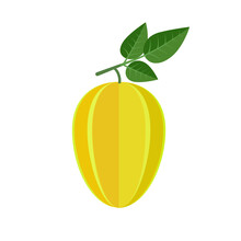 Carambola Fruit Icon Flat Design Vector Illustration