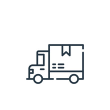 Delivery Truck Vector Icon. Delivery Truck Editable Stroke. Delivery Truck Linear Symbol For Use On Web And Mobile Apps, Logo, Print Media. Thin Line Illustration. Vector Isolated Outline Drawing.