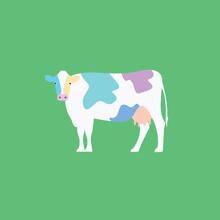 Colorful Cow Vector Standing Flat Design Isolated Cartoon. Concept & Creative Idea. Art & Artistic Animal
