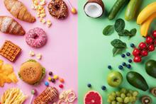 Healthy And Unhealthy Food Bac...