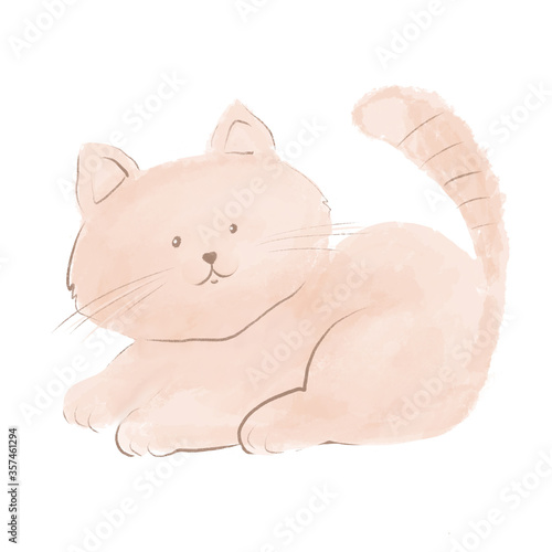 Cute kitten. Cat on a white background, children's illustration