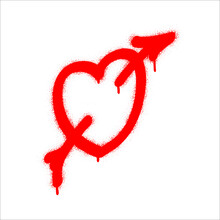 Spray Graffiti Red Heart Pierced With Arrow. White Background. Fall In Love And St. Valentine's Day Concept (february 14th).