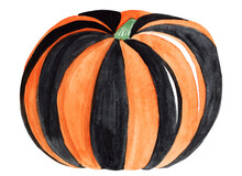 Watercolor Black And Orange Pumpkin Isolated On White Background For Halloween Decoration