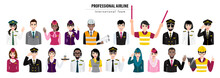 Cartoon Character With Airport Crew Action Half Body Banner, Professional Airline Team In Uniform, Flat Icon Design Vector Illustration