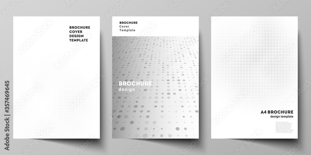 Fototapeta Vector layout of A4 cover mockups design templates for brochure, flyer layout, cover design, book design, brochure cover. Halftone effect decoration with dots. Dotted pattern for grunge decoration.