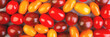 Leinwandbild Motiv Cherry tomatoes on gray marble background. Banner.