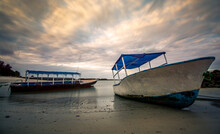Fishing Boats During Low Tide ...