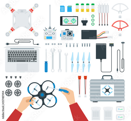 Fototapeta Set of equipment for the drone, repair by human hands vector illustration in a f