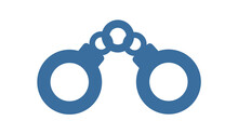 Handcuff Shackle On White, Justice Icon Symbol Blue